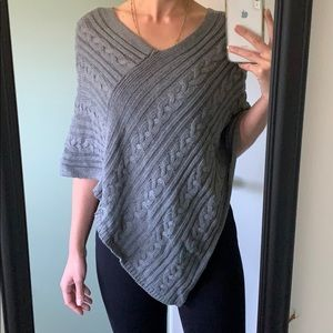 LOFT Cropped Cable Sweater Poncho